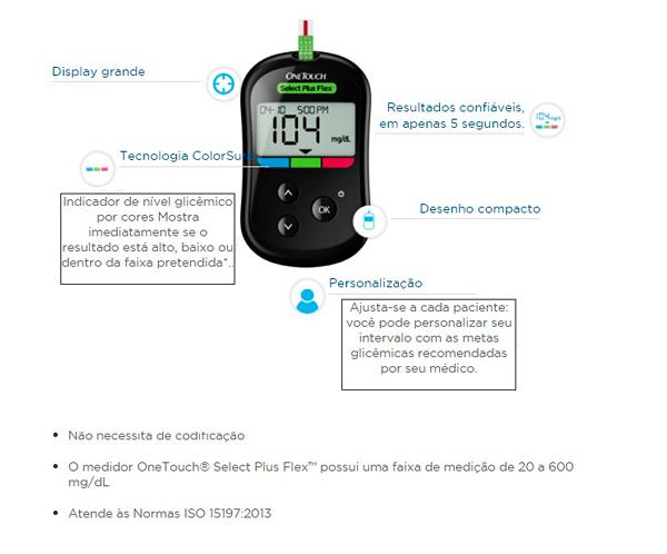 One Touch Select Plus Flex Kit Monitor de Glicemia com 1 Aparelho + 1 Lancetador + 10 Lancetas + 10 Tiras Teste
