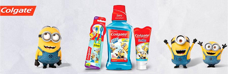 Enxaguante Bucal Colgate Plax Kids Minions com Flúor Sem Álcool Tutti-Frutti com 250ml