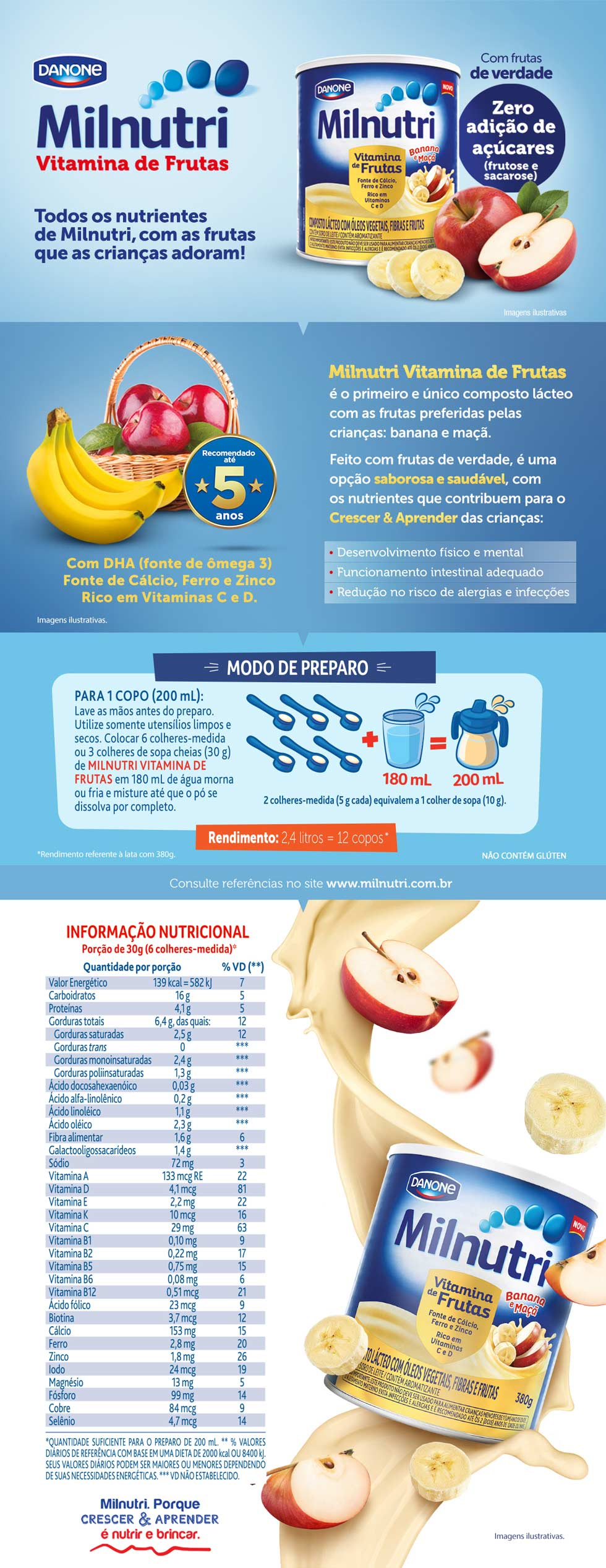 Milnutri Vitamina de Frutas Danone Composto Lácteo com Frutas 380g