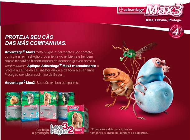 Advantage Max3 P Contra Carrapatos, Pulgas e Mosquitos para Cães até 4kg com 1 Bisnaga de 0,4ml